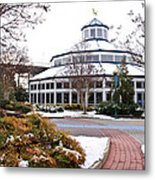 Carousel Building In The Snow Metal Print by Tom and Pat Cory