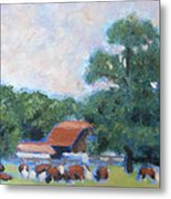 Carrboro Cattle Metal Print