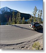 Cars Driving Along Hwy 89 Over Emerald Metal Print