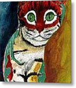 Cat Around Corner Metal Print