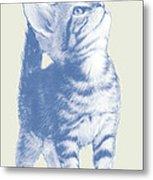 Cat With Love Hart Pop Modern Art Etching Poster Metal Print