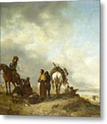 Seashore With Fishwives Offering Fish Metal Print