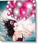 Celebration. Happy Fashion Woman Holding Balloons Metal Print