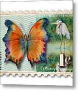 1 Cent Butterfly Stamp Metal Print