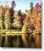 Cezanne Style Digital Painting Beautiful Landscape Of Autumn Trees And Colors Reflected In Lake Metal Print