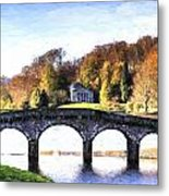 Cezanne Style Digital Painting Bridge Over Main Lake In Stourhead Gardens During Autumn. Metal Print