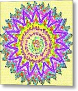 Chakra Energy  Mandala Ancient Healing Meditation Tool Stained Glass Pixels  Live Spinning Wheel  Metal Print