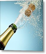 Champagne And Cork Exploding From Bottle Metal Print
