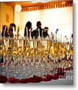 Champagne Glasses At The Party Metal Print