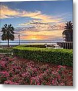 Charleston Sc Waterfront Pineapple Fountain Metal Print