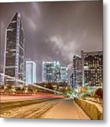 Charlotte Nc Usa Skyline During And After Winter Snow Storm In January Metal Print