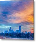 Charlotte The Queen City Skyline At Sunrise Metal Print