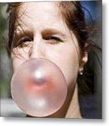 Chewing Gum Lady Metal Print