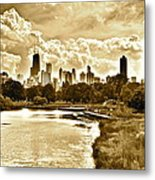 Chicago In Sepia Metal Print