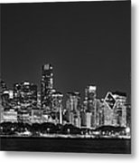 Chicago Skyline At Night Black And White Panoramic Metal Print