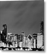 Chicago Skyline At Night In Black And White Metal Print