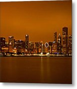 Chicago Skyline In Fog With Reflection Metal Print