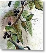 Chickadees And Blueberries Metal Print