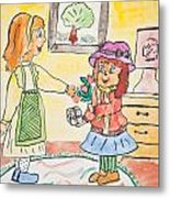 Child Drawing Of Mother Giving Gift To Daughter Metal Print