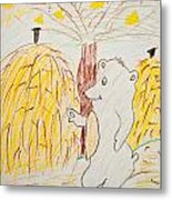 Child Painting Of Bear In Forest Metal Print
