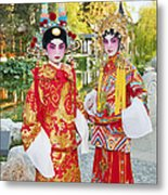 Children Dressed In Full Traditional Chinese Opera Costumes. Metal Print