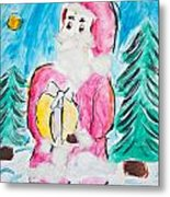 Child's Drawing Of Santa Claus With Watercolors Metal Print
