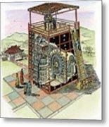 Chinese Astronomical Clocktower Built Metal Print