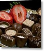 Chocolate On Plate With Strawberry Metal Print