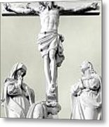 Christ On The Cross With Mourners Evansville Indiana 2006 Metal Print by John Hanou