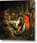 Christ Washing The Apostles' Feet Metal Print