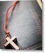 Christian Cross On Bible Metal Print by Elena Elisseeva
