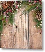 Christmas Berries On Wooden Background Metal Print