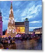 Christmas Time In Warsaw Metal Print