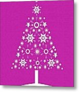 Christmas Tree Made Of Snowflakes On Pink Background Metal Print