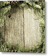 Christmas Wreath With Rustic Wood Background Metal Print