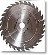 Circular Saw Blade Isolated On White Metal Print by Handmade Pictures