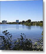 City Of Melbourne On The Intracoastal Waterway In Central Florid Metal Print