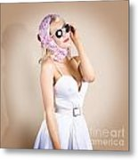 Classical Pinup Girl Posing In Retro Fashion Style Metal Print