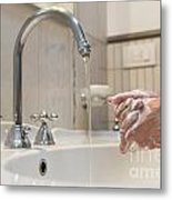 Cleaning Her Hands Metal Print