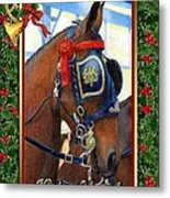 Cleveland Bay Horse Christmas Card Metal Print