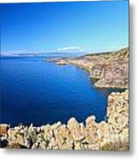cliff in San Pietro Island Metal Print