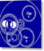 Clock Gears Blueprint Metal Print by
