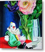 Clown Book And Flowers Metal Print