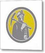 Coal Miner Hardhat With Pick Axe Lamp Front Circle Metal Print