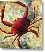Coastal Crab Decorative Painting Original Art Coastal Luxe Crab By Madart Metal Print