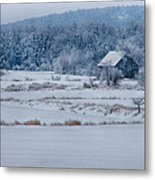 Cold Blue Snow Metal Print