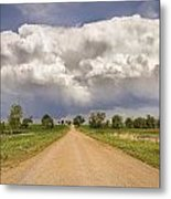 Colorado Country Road Stormin Skies Metal Print
