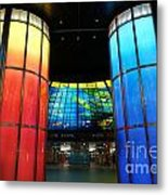 Colorful Glass Work Ceiling And Columns Metal Print
