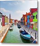 Colorful Houses And Canal On Burano Island Near Venice Italy Metal Print
