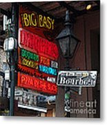 Colorful Neon Sign On Bourbon Street Corner French Quarter New Orleans Poster Edges Digital Art Metal Print